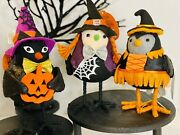 Target Halloween Decor Hyde And Eek Kettle And 2 Feather Friends Cat And Witch Birds