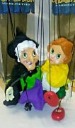 Vintage European Collection Marionettes - Storybook Witch, Girl Puppets In Boxes