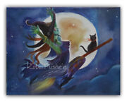 Green Witch In Flight Cat Full Moon Colorful Original Canvas Painting