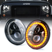 Xprite 7 Led Round Headlight W/ Amber Turn And White Drl For 97-18 Jeep Jk Tj Lj