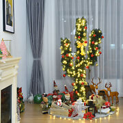 5ft Artificial Pre-lit Cactus Christmas Tree W/ Metal Stand Ball Ornaments