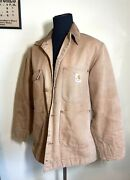 Vintage 90and039s Well Worn Duck Chore Coat Blanket Lined Size Mens Sm/m 38