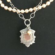 Antique Sterling Silver Watch Fob Hallmark Pendant, Necklace Lily Manor Design