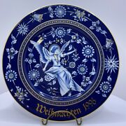 Vintage Hutschenreuther Christmas Plate / Wall Hanging Angel Floral Bells 1996