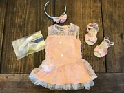 American Girl Truly Me Shimmer And Lace Party Dress- Pink Peach-complete Outfit