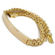 14k Gold 8 Mesh Id Bracelet Ready For Engraving W Box Clasp And Safety Catch 12g