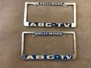 Lot Of 2 Vintage Metal License Plate Frames Ca. 1960's Hollywood Abc-tv