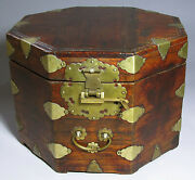 A Rare And Fine Korean Octagonal Official Hat Box/lid/metal Hinges/lock -19th C
