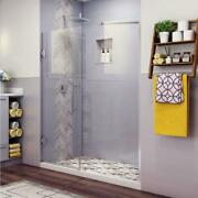 Hinged Shower Door 65.25 In. W X 72 In. H Clear Glass Frameless Stainless Steel