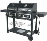 Combo Grill Revoace Dual Fuel Gas Charcoal Black With Stainless Steel Cover Bbq