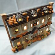 Transfar Co Halloween And Christmas Lighted Ceramic House 2 Sided Fall Winter