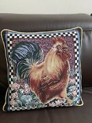 Cottage French Country Woven Rooster Pillow, Multicolor