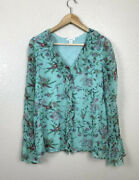 Sundance Catalog Womens L Floral Ruffle Front Blouse Cupro Sheer Long Sleeves