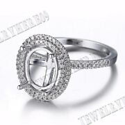 Solid 18k White Gold Oval 8x10mm Natural Diamonds Semi Mount Ring Fine Jewelry