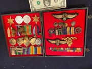 Named 30 British Wwi Ww2 Metal And Wings Lot To Same Rfc Raf Army Pilot Officer