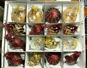 Vintage Frontgate Holiday Collection 16 Ornaments Red/gold/clear Original Box
