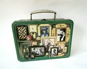 Lunch Box Vintage Green Metal Chippy Paint Movie Star Art Deco Decoupaged Tin