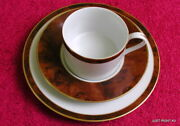 Woodmere Decoys Brown Flat Cup And Saucer And 7 1/2 Bread Plate Exc