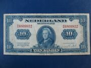 1943 Netherlands Ww2 10 Gulden Banknote-american Banknote Company-21-754