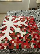 Homemade Christmas Snowflake Quilt Top Wall Hanging 43x50andnbsp - Free Shipping