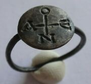 Ancient Byzantine Silver Ring With Monogram 8th-10th Century Ad