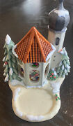 2001 Goebel Hummel Wintertime Chapel Stained Glass Candle Music Box Silent Night