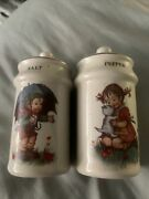 Vintage Salt And Pepper Shaker Hummel Boy And Girl 4 Inches Tall. J.s.n.y.