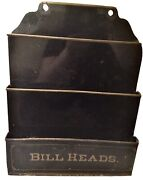 Antique Country Store Early Office Item Tin Bill Heads Holder Wall Hung Rare