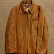 Rrl Leather Jacket Size L Men's Camel Motorcycle Vintage Riders From Japan