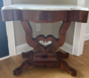 Antique Victorian Marble Top Heart Base Foyer Library Parlor Table Circa 1870