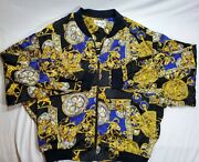 Vintage Papell Too Gold Dog Watch Bomber Womenandrsquos Size Medium Jacket