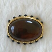 Nwt Vintage Replica Collection Gold Tone Amber Color Oval Pin Brooch