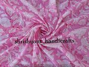 Pink Cotton Fabric Sold By The Yard Floral Hand Block Print Fabric By The Yard