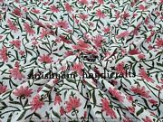 Indian Block Printed Cotton Fabric Hand Stamped Fabric Table Printed By The Yard