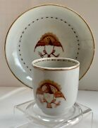 Chinese Export American Eagle Cup Saucer Federal Period Early 19th Century