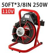 Commercial 50ft 3/8 Electric Drain Auger Drain Cleaner Machine Snake Sewer Us