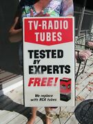 Vintage Original 1950and039s - 60and039s Rca Tv - Radio Tubes Lighted Sign Works Great