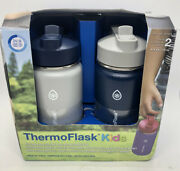 Thermoflask Kids 14 Oz Stainless Steel Straw Bottle Navy/gray New Open Box
