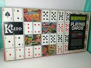Vintage Kling Windproof Magnetic Playing Cards W/ Green And Red Decks And Board