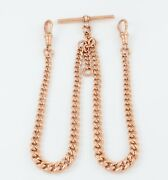 Antique Victorian 9ct Rose Gold Double Albert Watch Chain / Necklace 16 3/4and039and039
