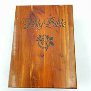 Wooden Box For Holy Bible Hinged Ubc Vintage 9 X 6.5 X 3 Inches