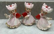 Charming Vintage Lefton Valentines Girls With Bonnets Figurines Occupied Japan