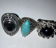 Vintage Style Costume Jewellery Gothic Jet Turquoise Silver Tone Rings X3