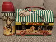 1958 Circus Wagon Metal Dome Lunchbox With Damged Thermos See Pictures