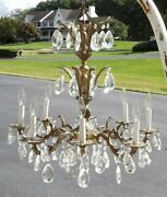 Vintage 3 Tier Brass Crystal Prism Art Nouveau French Type Chandelier Made Spain