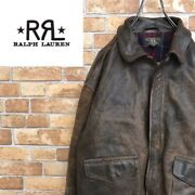 Rrl Polo Early Usa A-2 Leather Jacket Brownish Black Men's Japan