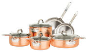 Viking Copper Clad 3-ply Hammered 10 Piece Cookware Set