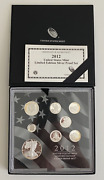 2012 S Us Mint Limited Edition Silver Proof Set 8 Coins With Box Coa And Sleeve
