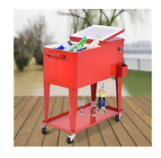 New 80 Quart Outdoor Patio Rolling Steel Durable Wheeled Construction Cooler