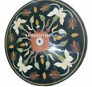 Black Marble Round Table Top Inlay Marquetry Collectible Floral Home Decors H937